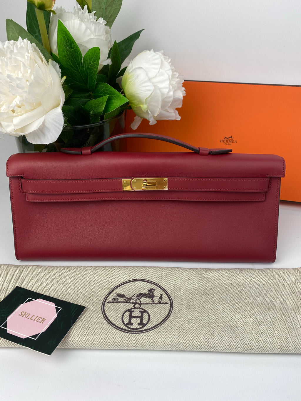 Hermes Kelly Cut in Rouge Grenat Veau Swift with Gold Hardware Bag