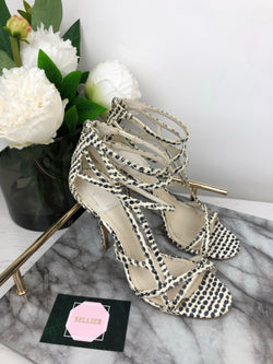 Christian Dior Black and White Python Strap Heels Size 37