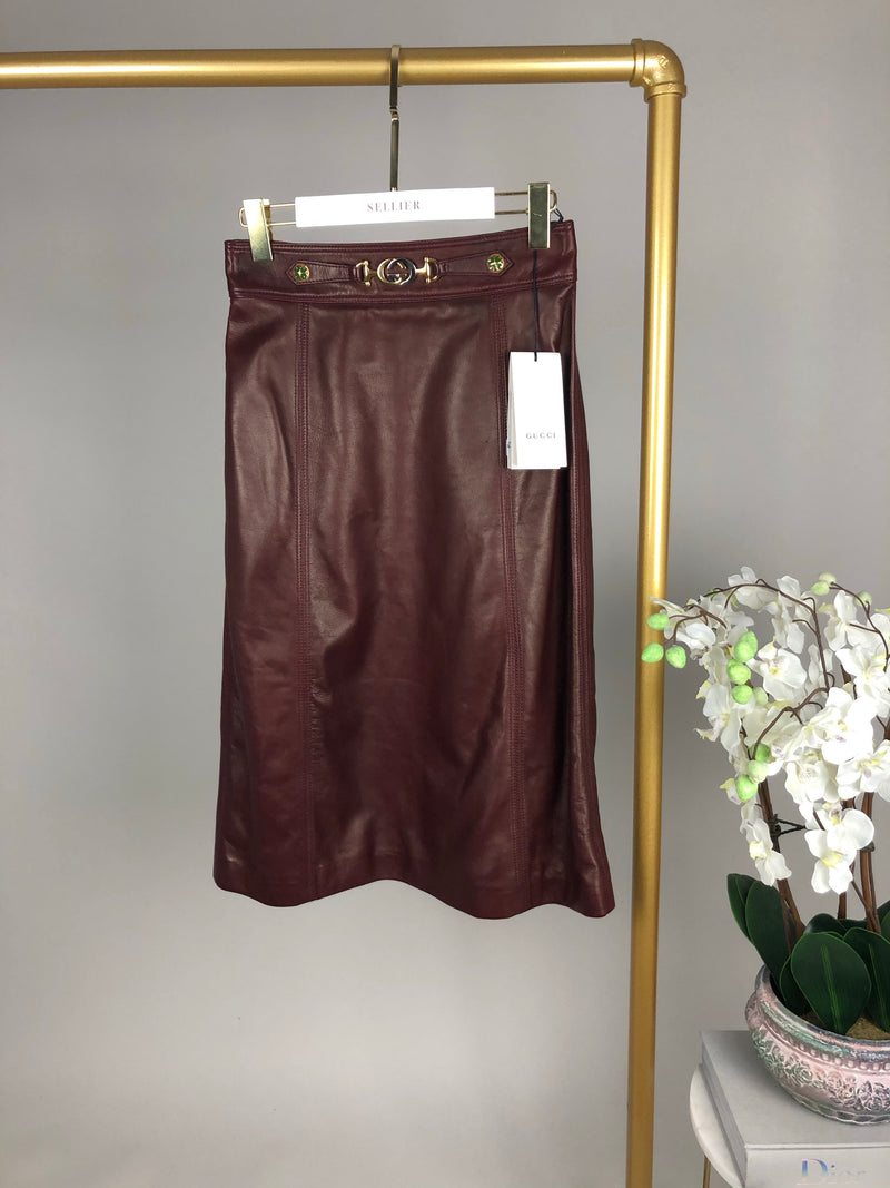 Gucci Burgundy Lambskin Skirt with Integrated G Buckle Size 40 (UK8)