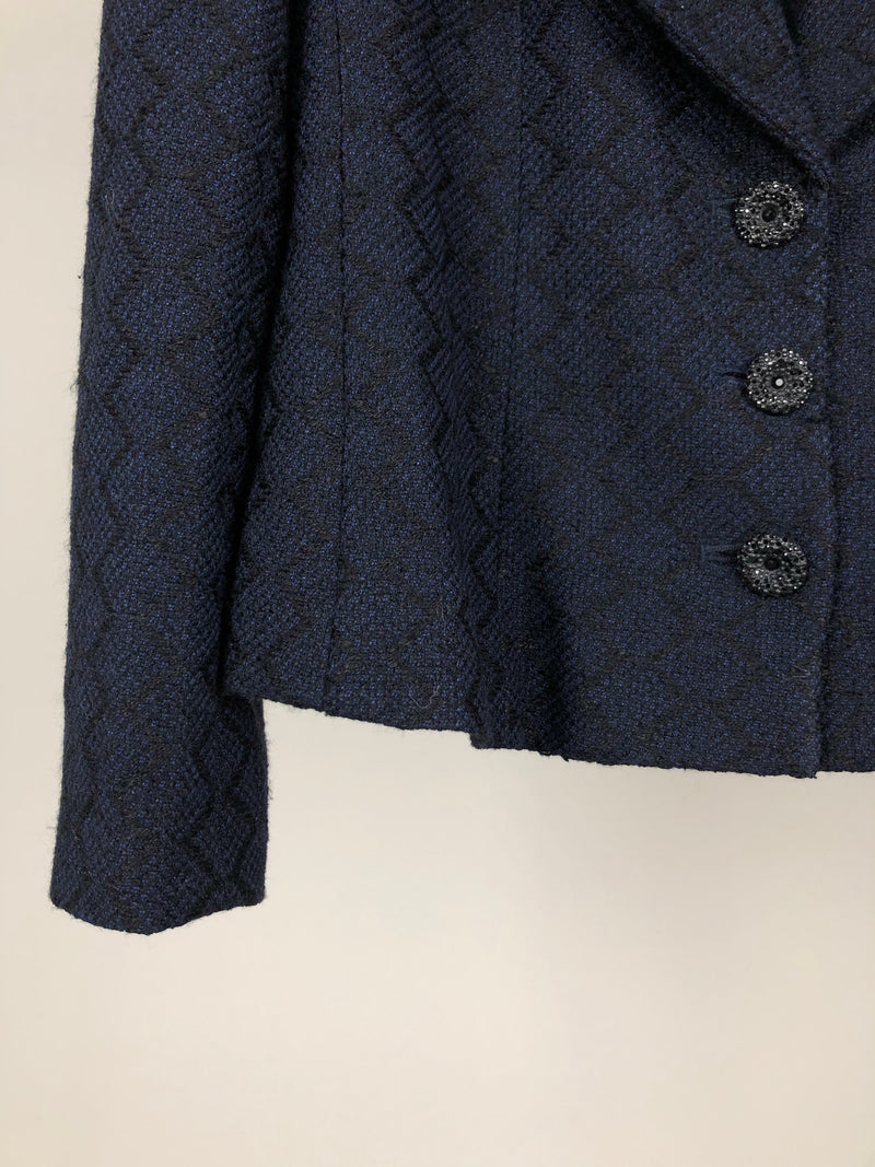 Chanel Navy and Black Zig Zag Blazer with Crystal Buttons Size 36 (UK8-10)