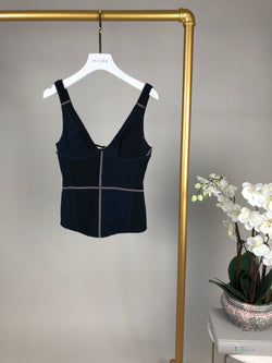 Chanel Navy Knit Underwired Top Size 38 (UK10)