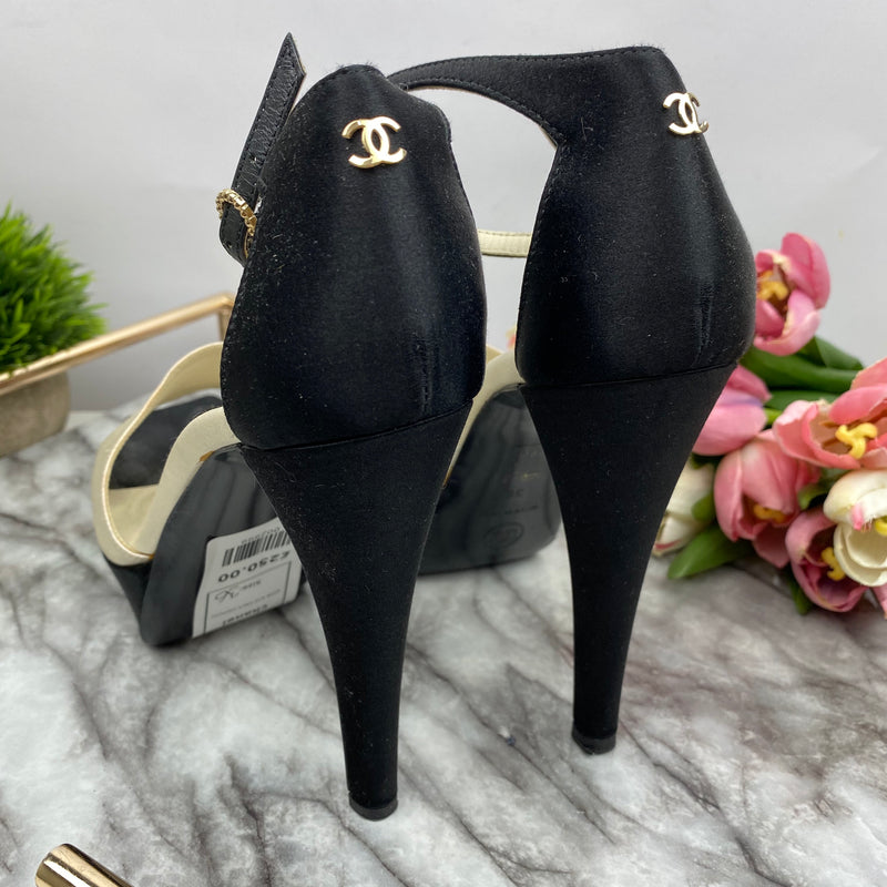 Chanel Cream and Black Satin Platform Heels Size 36