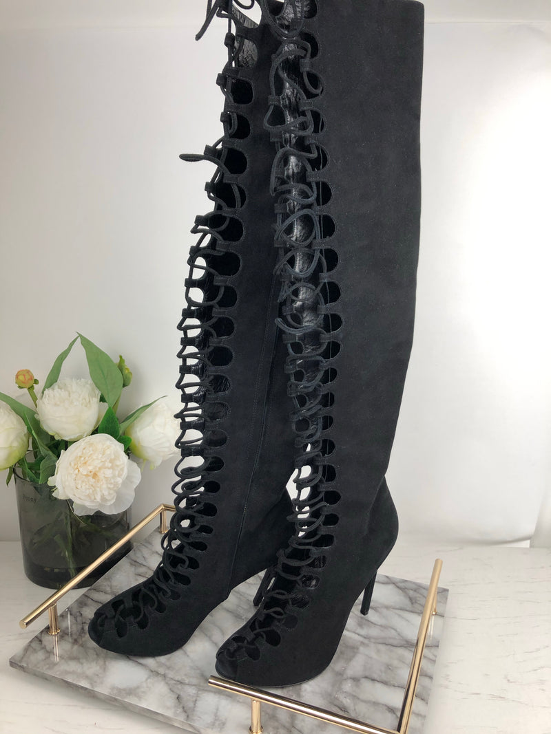 Giambattista Valli Black Suede Heel Lace Up Boots Size 41