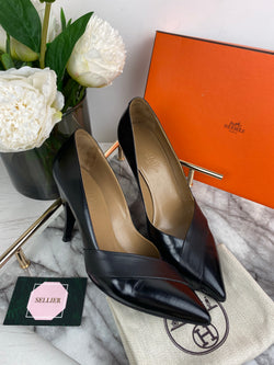 Hermes Black Leather Cross Toe Pointed Heels Size 38.5