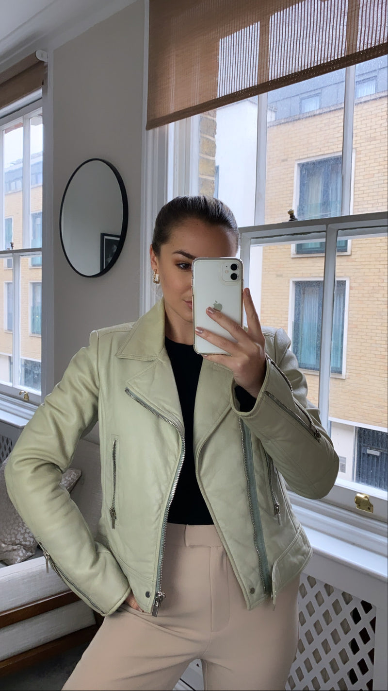 Balenciaga Olive Cream Leather Biker Jacket Size 42