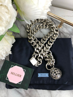 Prada Silver Chain Necklace/Belt with Circular Globe