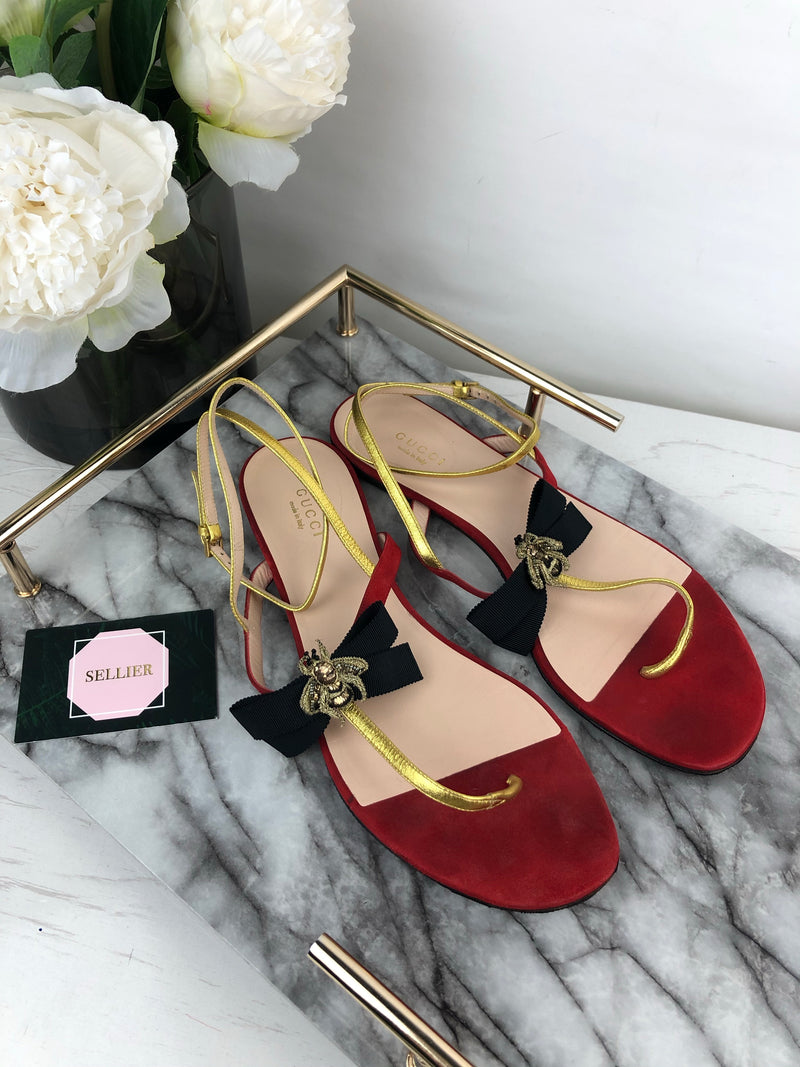 Gucci Red Grosgrain Ribbon Sandals Size 39.5