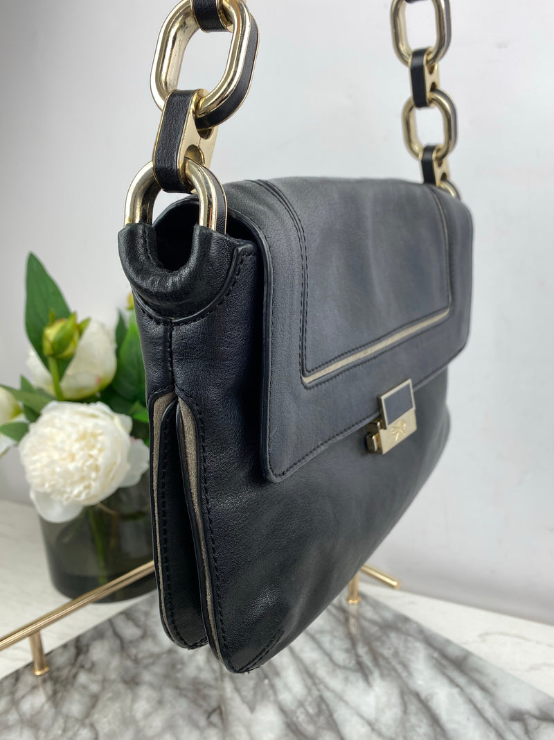 Anya Hindmarch Black Leather Shoulder Bag with Chain Strap