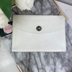 Hermes White Togo Leather Pouch