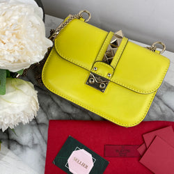 Valentino Yellow Rockstud Bag with Gold Hardware