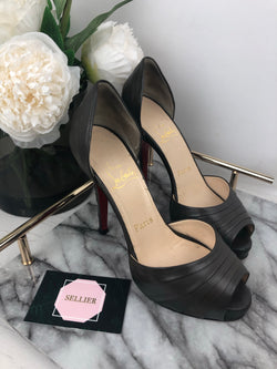 Christian Louboutin Warm Grey Wrap Peep Toe Heels Size 36.5 (UK2.5)