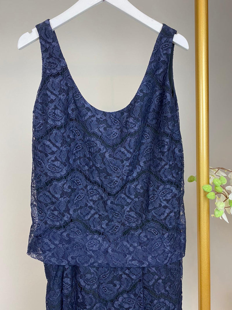 Carven Navy Blue Lace Dress Size 38 (UK10)