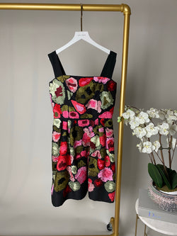 Oscar De La Renta Black and Pink Floral Dress Size 10UK