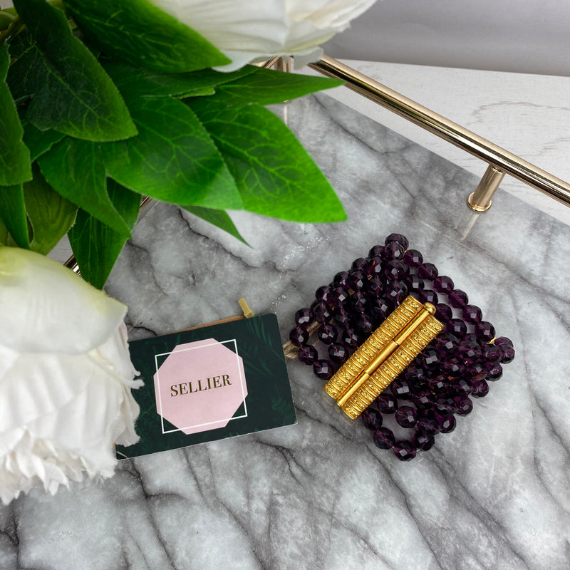 Christian Dior Purple Bead and Gold Hardware Bracelet