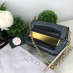 Jimmy Choo Grey Holographic Snakeskin Bag