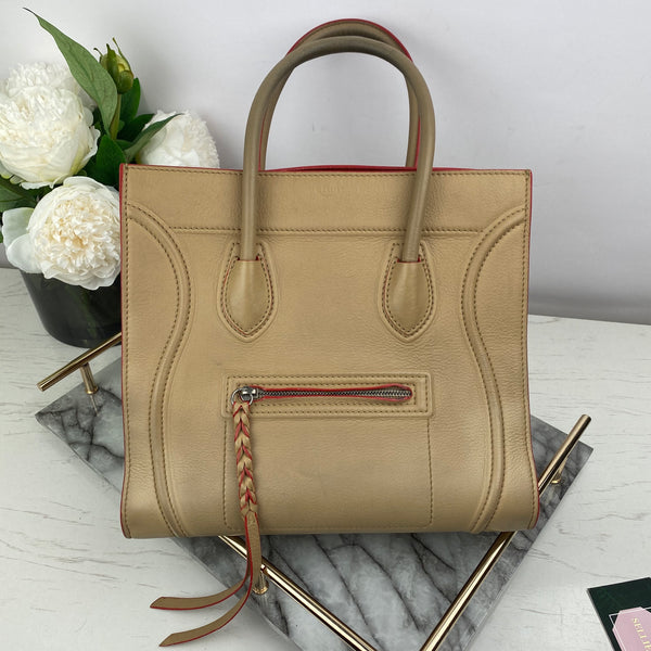 Celine Phantom Luggage Tote Bag in Beige and Red Edge Paint