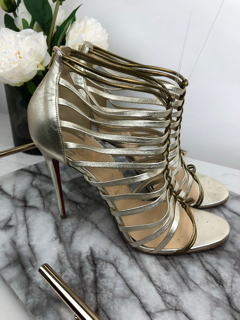 Christian Louboutin Gold and Silver Plaited Heels Size 40.5