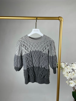 Chanel Grey Grey Tricolour Bobble Cashmere Jumper Size 36