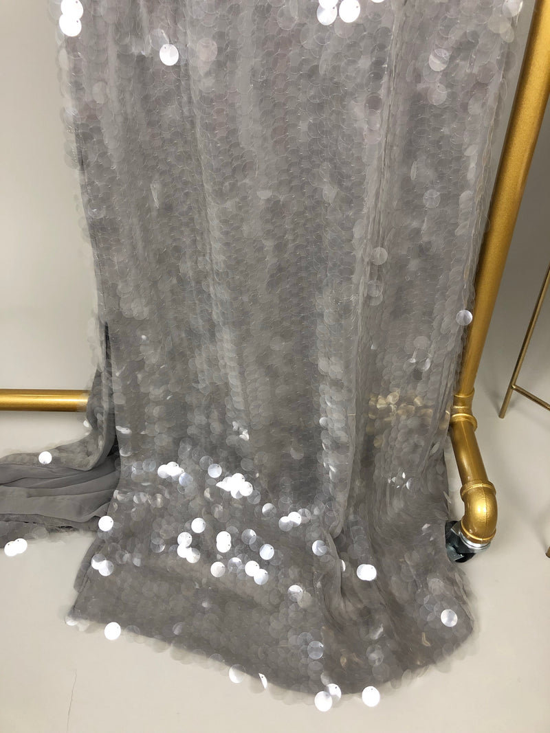 Rachel Zoe Grey Sequin Maxi Dress Size 2 (UK8)