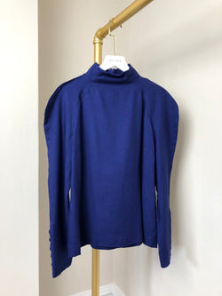 Fendi Blue High Neck Jumper with Statement Sleeve Size 42