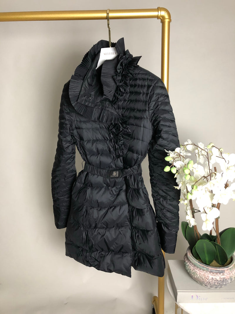 Ermanno Scervino Black Ruffle Puffer Jacket Size 42 (8UK)