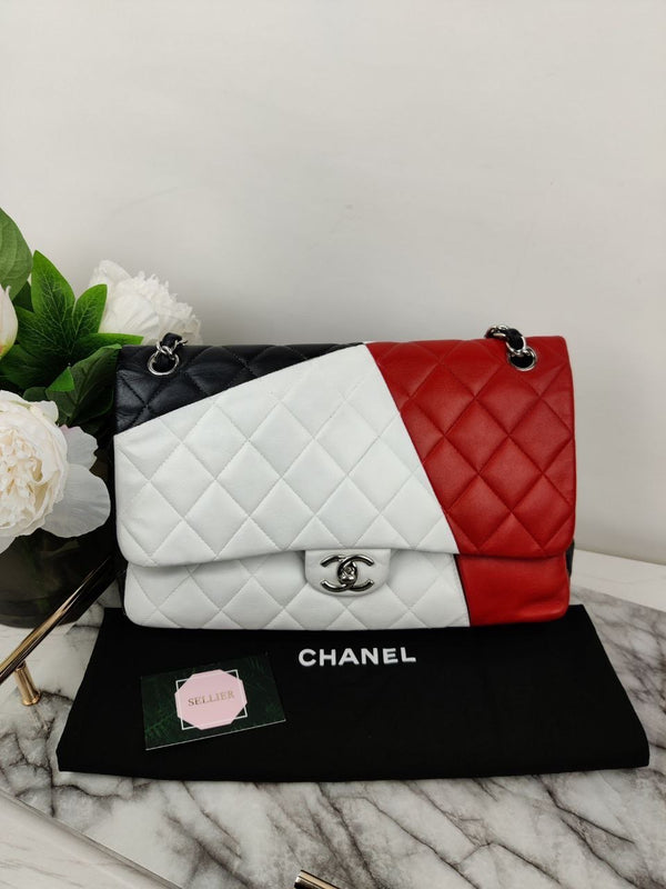 Chanel Jumbo Tricolour Classic Double Flap Bag and Silver Hardware