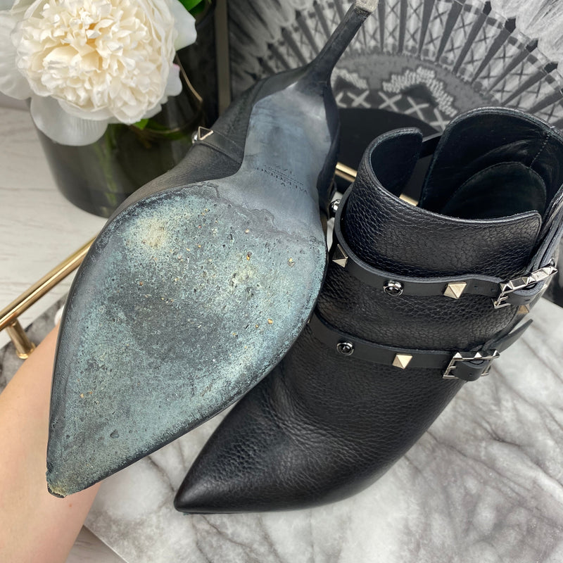 Valentino Black Rockstud Pointed Boot Heels Size 37.5