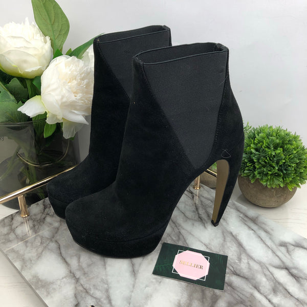 Walter Steiger Black Curved Heel Suede Boots Size 39