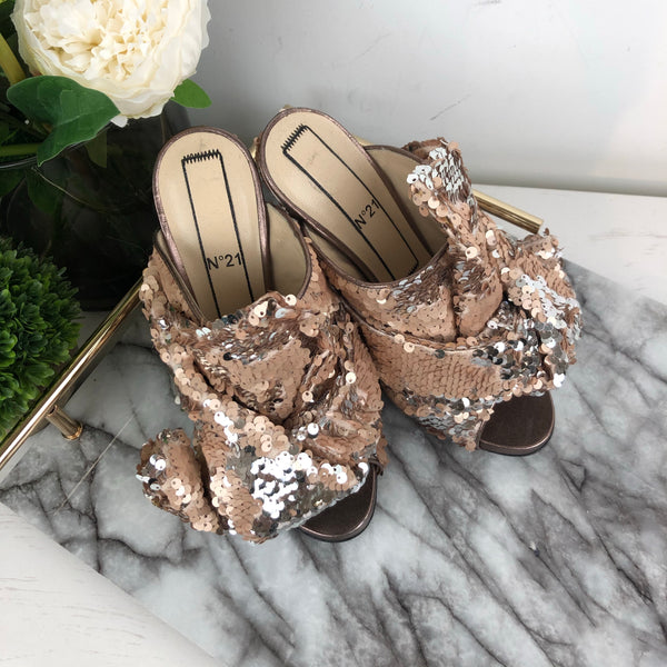 No 21 Sequin Wrap Mule Heels in Nude Size 36