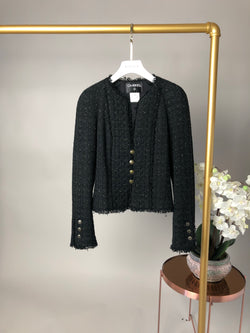 Chanel Black Tweed Blazer Size 36
