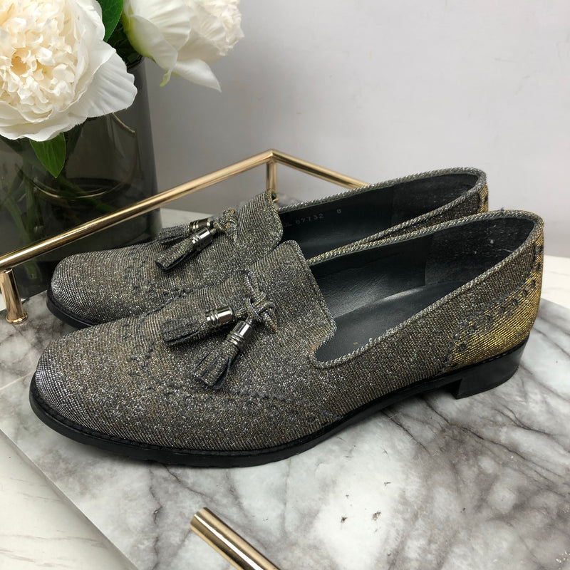 Stuart Weitzman For Russel and Bromley Grey Sparkle Loafers Size 8 (38.5)EU