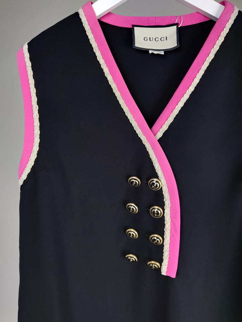 Gucci Black and Pink Shift Dress Size 38 (UK6)