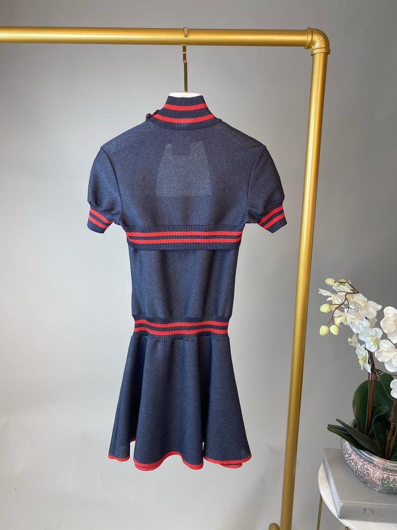 Chanel Midnight Blue and Red Shimmer Cutout Dress Size 34