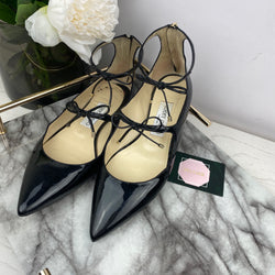Jimmy Choo Black Patent Pumps with Bow Details Size 37