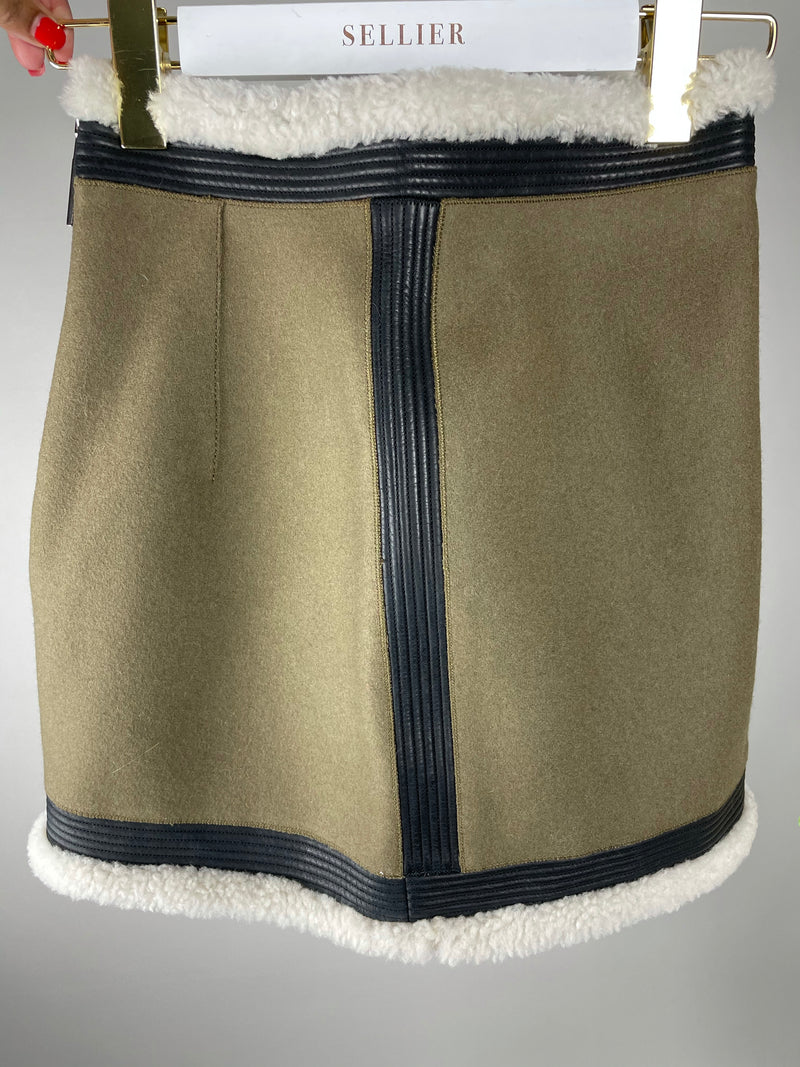 DSquared2 Khaki Wool Lined Mini Skirt Size 34