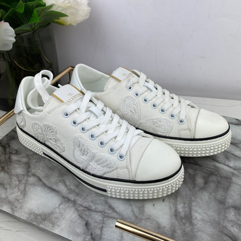 Valentino White Embroidered Trainers Size 37
