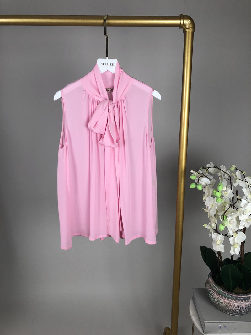 Emilio Pucci Pink Silk Bow Blouse Size 8UK