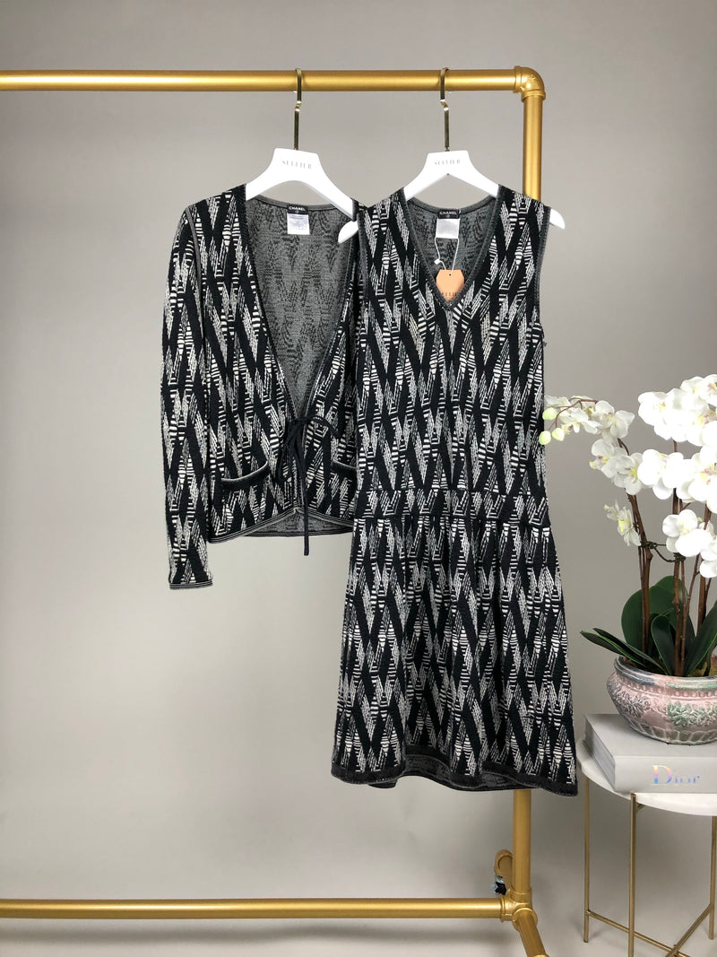 Chanel Black and White Cardigan and Dress Two Piece Set Size 36/40 (UK8/12)