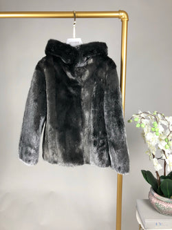 Grey Silver Mink Reversible Coat Size S