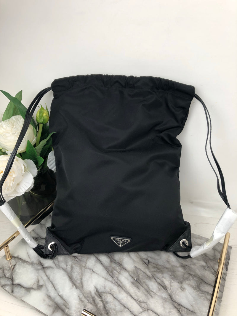 Prada Black Nylon Drawstring Rucksack with Whale Logo