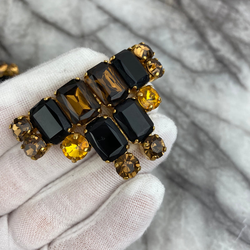 Marni Rectangular and Oval Black and Gold Crystal Brooches