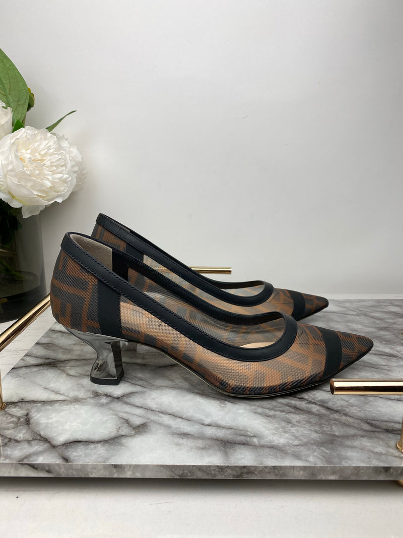Fendi Brown ad Black Monogram Mesh Low Heels Size 36