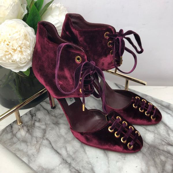 Jimmy Choo Burgundy Velvet Lace Up Heels Size 40.5