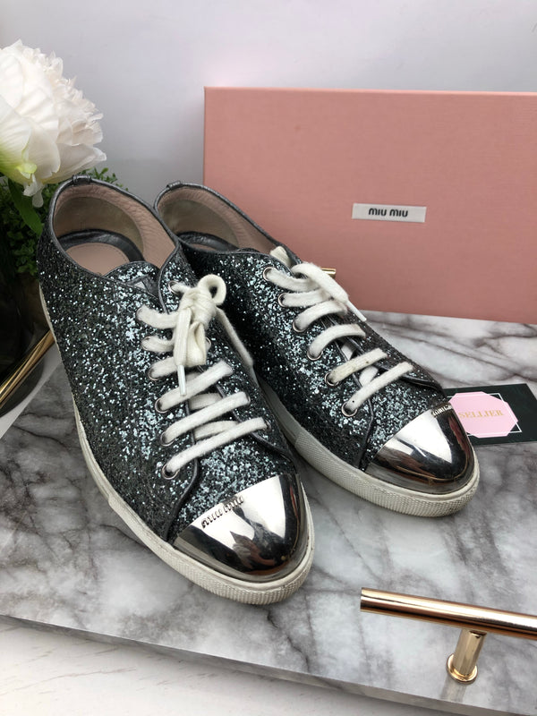 Miu Miu Grey Sequin Trainers Size 40