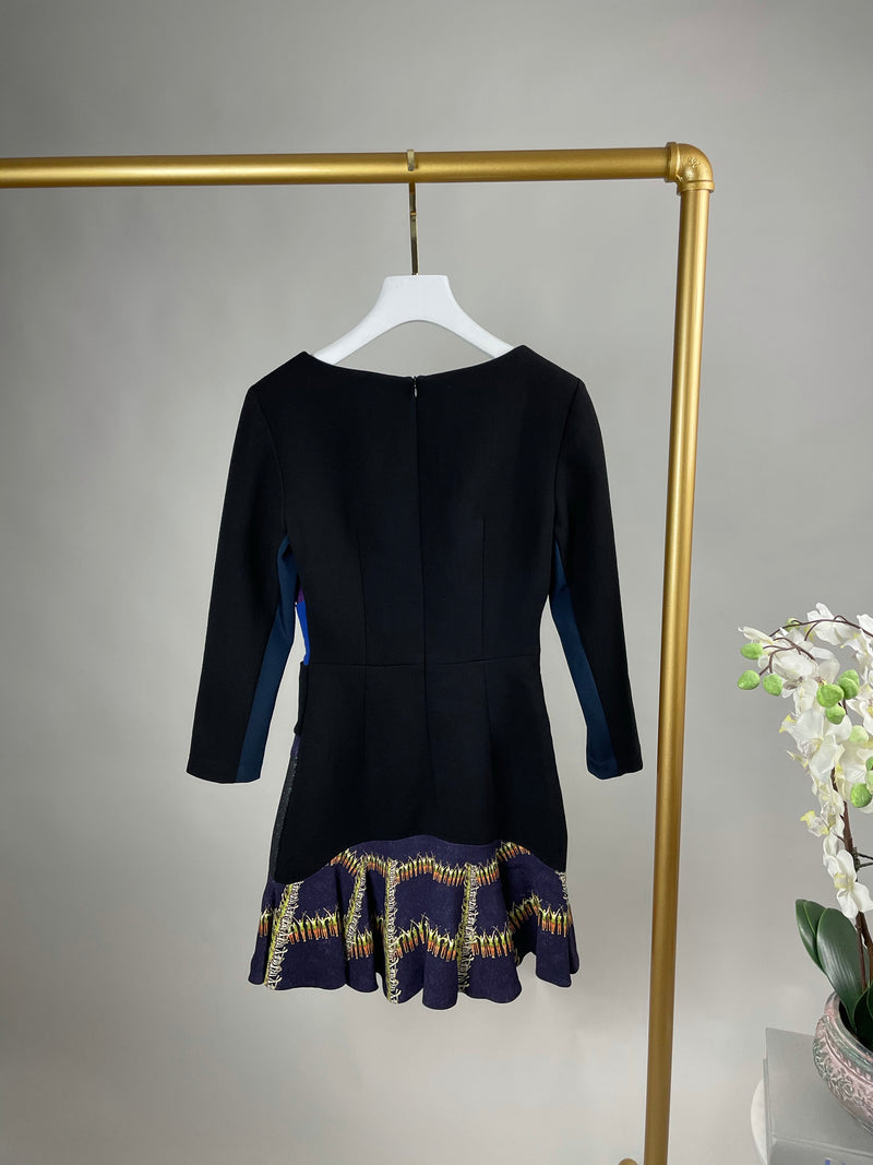 Peter Pilotto Black and Purple Picture Dress Size 38