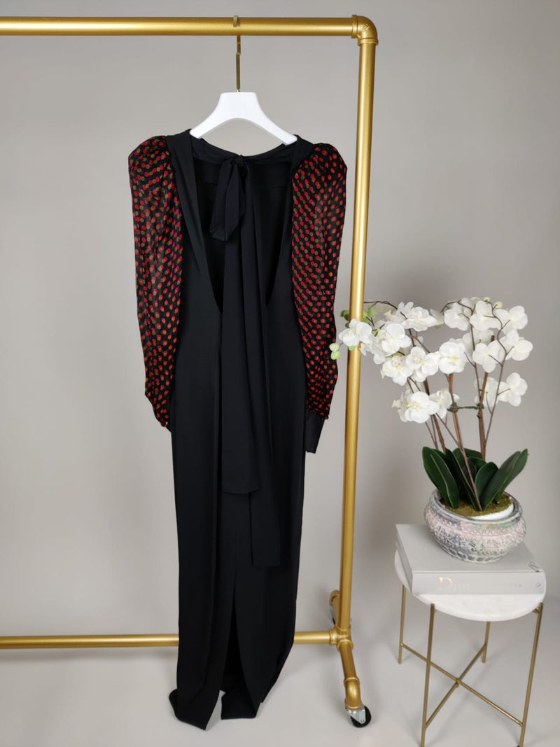 Alessandra Rich Black Maxi Dress with Puff Polka Dot Sleeve Size 42 (UK10)