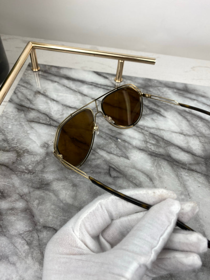 Dolce & Gabbana Brown Toned Lens Aviator Sunglasses with Gold Rim