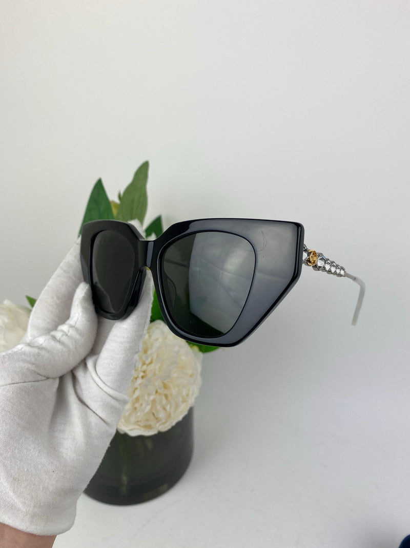 Gucci Black and Crystal Arm Sunglasses