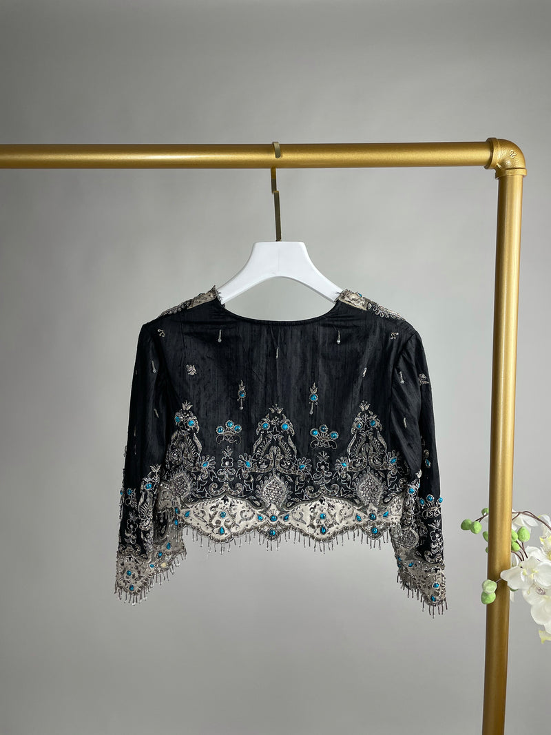 Anna Sui Black Silver and Blue Embroidered Jacket Size 6UK
