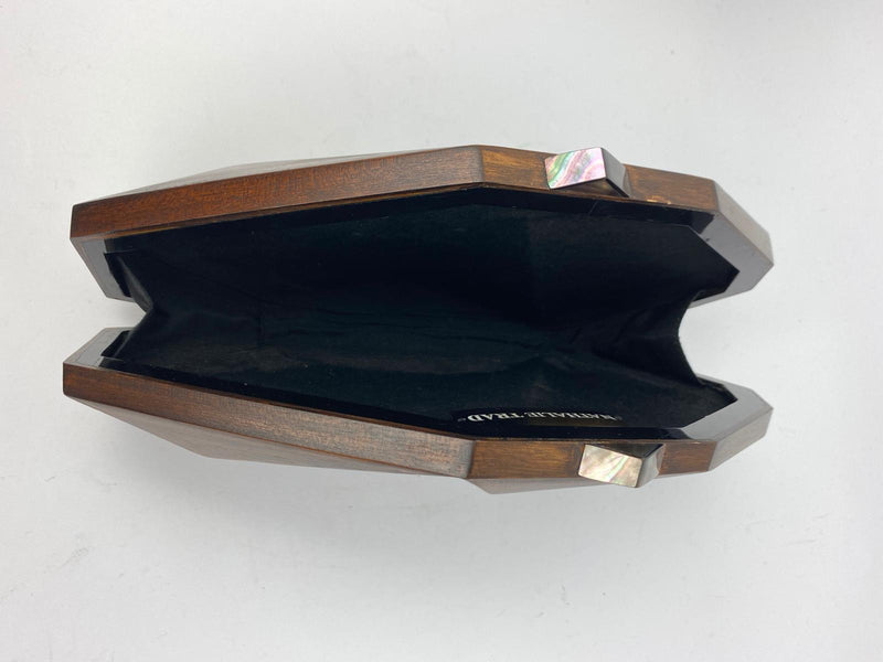 Nathalie Trad Polygonia Wooden Clutch